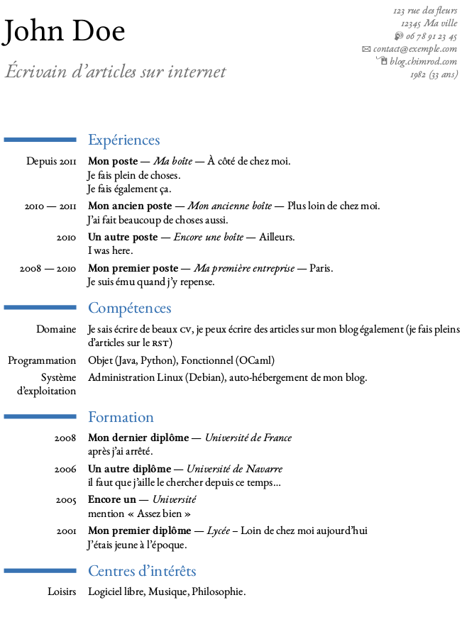 exemple cv latex